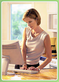 image of a lady booking online